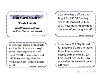 Gift Card Math #1 Task Cards, Display Cards, Worksheet - Subtract Across Zeros
