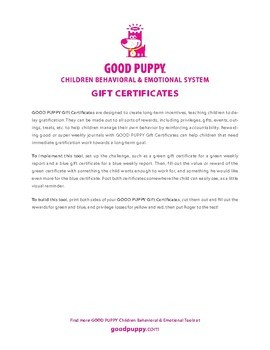 Gift Certificates . Child Behavioral & Emotional Tools by GOOD PUPPY