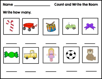 Gift Counting Write the Room Activity