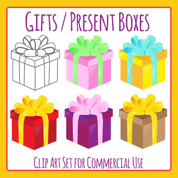 Gift / Present Boxes - Christmas / Birthday Clip Art for Commercial Use