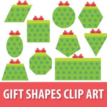 Gift Shapes Clipart, Present Shapes Clipart, 2D Shapes Christmas Clip Art