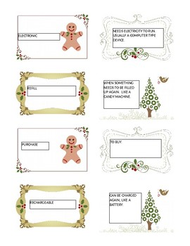 Gift Tag Holiday Vocabulary
