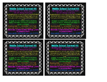 Gift Tag Middle School Survival Kit By Growing With Grace Tpt