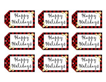 Gift Tags - Christmas Tags - Buffalo Check Holiday Tags