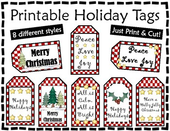 Gift Tags - Christmas Tags - Red and White Holiday Tags