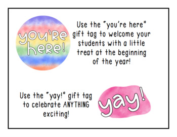 "Gift Tags Freebie - ""Yay!"" and ""You're Here!"""
