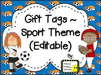 Gift Tags ~ Sports Theme (Editable)