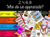 Appreciation Gift Tags for students, teachers, parents, an