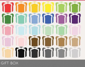 Gift-box Digital Clipart, Gift-box Graphics, Gift-box PNG, Rainbow Gift-box