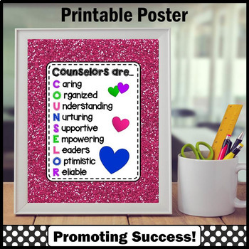 Genial School Counselor Appreciation Gift, Hot Pink Counseling Office Decor Sign