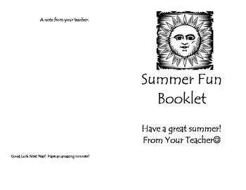 Gift for Students: Summer Fun Booklet