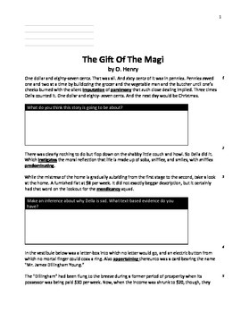 Gift of The Magi with High-Level Bloom Questions. Print and Go!
