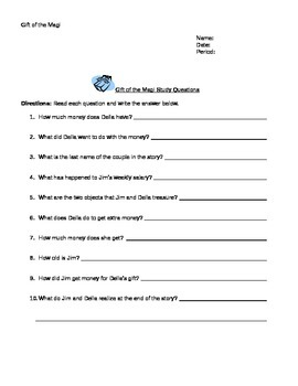 Gift of the Magi Activity Packet