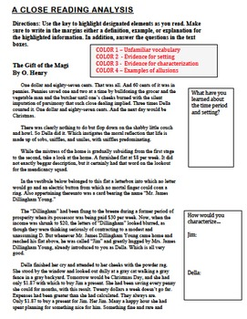 Gift of the magi close reading analysis by homegrown teacher tpt gift of the magi close reading analysis negle Images