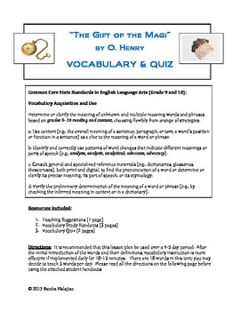 The Gift of the Magi. Vocabulary and Quiz (w/ CCSS)