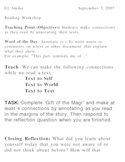 """""""Gift of the Magi"""" lessons - Making Connections/Drawing Inferences"""