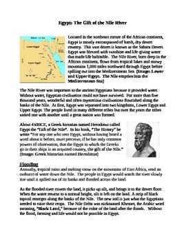Gift of the Nile Social Studies ELA informational text multiple choice quiz