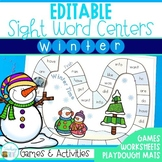 Editable Sight Word Worksheets and Games - Winter Theme