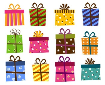 Giftbox Clip Art, Present Boxes Clip Art,  Birthday Holiday Gift Box