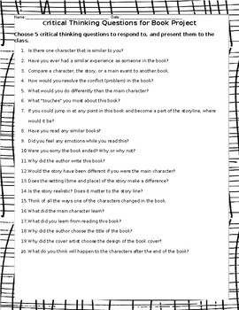 Gifted Book Project Critical Thinking Questions