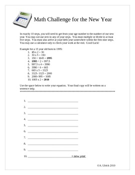 Gifted Ed New Years Math Challenge