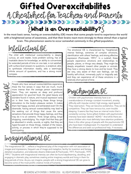 Gifted Education Cheat Sheet- Gifted Overexcitabilities Tips and Tricks