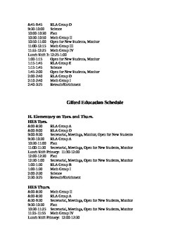 Gifted Education Schedule Template Fully Editable