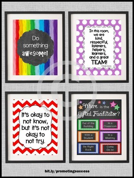 Gifted Facilitator Door Sign, Gifted and Talented Posters, Inspirational Quotes