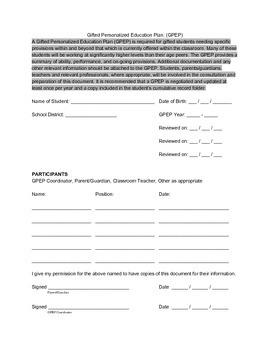 Gifted Personalized Education Plan