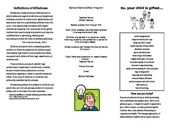 Gifted Program Brochure Template- Just add your information