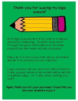 Gifted & Talented-Critical Thinking Logic Puzzle - Later Gator!