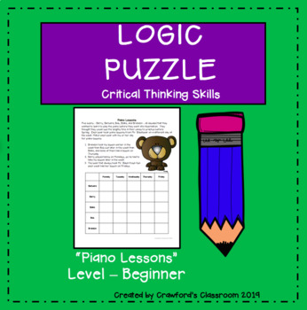 Gifted & Talented-Critical Thinking Logic Puzzle - Piano Lessons