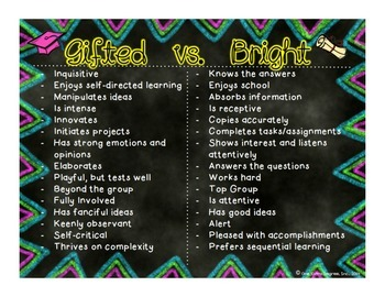 Gifted VS. Bright Chart