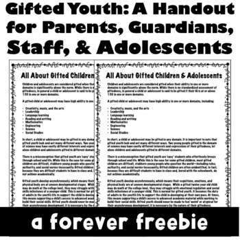 Gifted Youth: A Handout for Staff, Parents, & Teens
