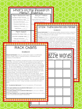 Gifted and Talented Curriculum - Thanksgiving Unit Third Fourth Fifth