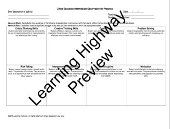 Gifted and Talented - Progress Monitoring & Reporting Forms