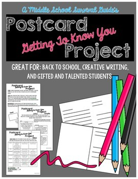 Gifted and Talented Activity - Postcard Creative Writing Project