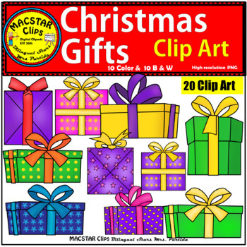 Christmas Gifts Clip Art  Personal and Commercial Use