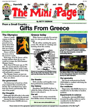 Gifts From Greece - Review Questions for SS Greek Unit to Use With The MiniPage
