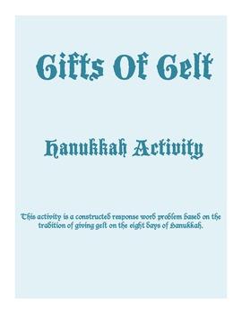 Gifts Of Gelt Hanukkah Activity Problem