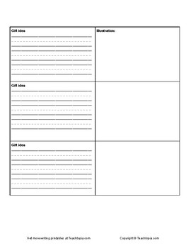 Gifts for Santa Claus Writing Assignment.  Christmas Holidays writing activity