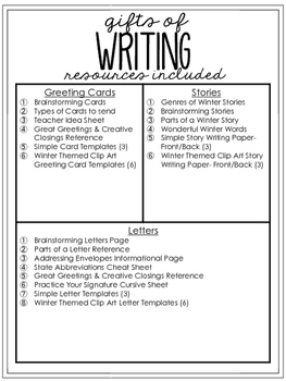 Gifts of writing winter edition by literacy for big kids tpt gifts of writing winter edition negle Images