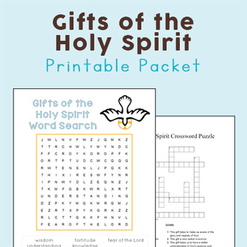 Gifts of the Holy Spirit Word Search and Crossword Puzzle Packet