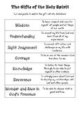 Gifts of the Holy Spirit matching worksheet