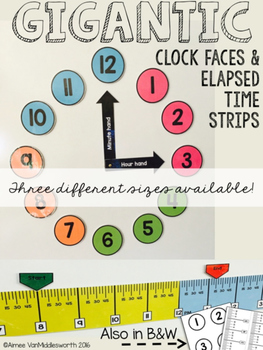 Gigantic Clock Face and Elapsed Time Strips:  Different Sizes Included