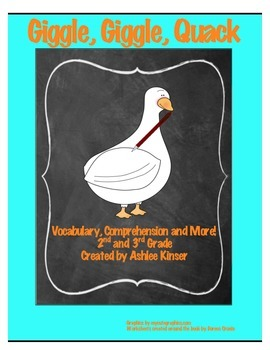 """Giggle, Giggle, Quack"" -Doreen Cronin - Vocabulary, Comprehension and Writing"
