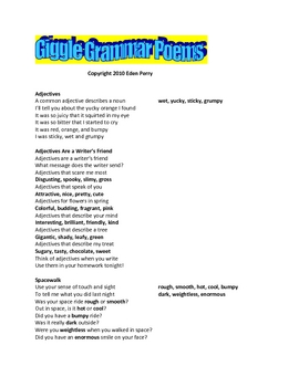 Giggle Grammar Poetry Adjectives