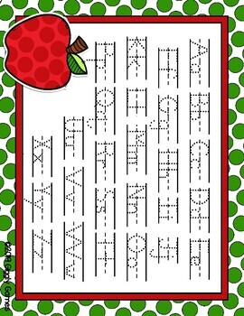 Giggly Games Apple ABCs Dotted Letter with Line Alphabet Practice Mat Dry Erase