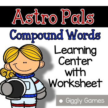 Giggly Games Astro Pals Compound Words Learning Center with Worksheet