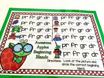Giggly Games Awesome Apples Beginning Blends Activity Dry Erase Mat